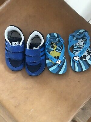 Size 4 Toddler Shoes  Bundle 1 X Adidas Sneakers 1 X Blue Havianas Sandals