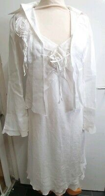 Brand New with tags Derhy Linen Blend White Jacket And Dress Size Small