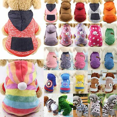 Pet Dog Hoodie Sweater Jumper Coat Warm Dogs Clothes Puppy Apparel Costume UK