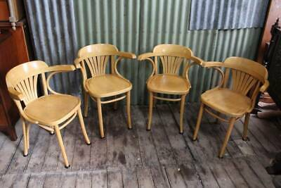 An Original Set of Vintage Thonet Bentwood Carver Chairs - Leather Cushions