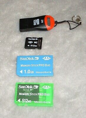 SanDisk 512mb and 1GB Pro Duo Memory Stick + 512mb M2 memory card+reader