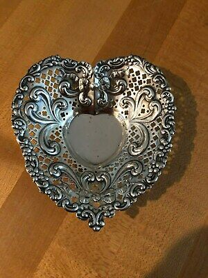 Gorham Sterling Silver Heart Shaped Pierced Footed Bon Bon Bowl Dish 966 No Mono