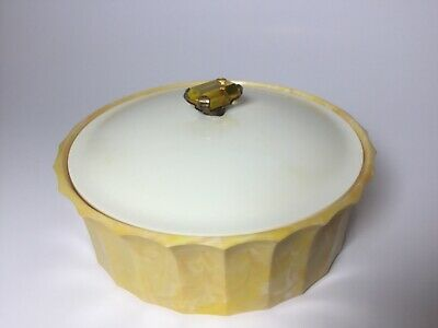 Vintage Avon Topaze Beauty Dust  Gold Yellow Plastic Empty Powder Box swirl