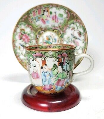 Antique Qing Canton Famille Rose Tea Cup Saucer Porcelain
