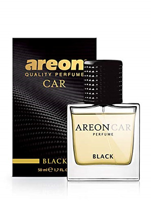 Areon Car Perfume 1.7 Fl Oz. 50ml Glass Bottle Cologne Air Freshener, Black