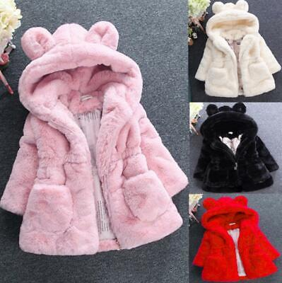 Kids Girls Faux Fur Parka Quilted Jacket Winter Warm Fleece Hooded Coat Outwear