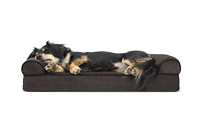 Furhaven Pet Dog Bed | Orthopedic Faux Fleece & Chenille Soft Woven Traditional