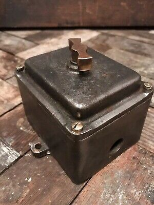 Large Vintage Industrial Art Deco Cast Iron And Brass Walsall Switch