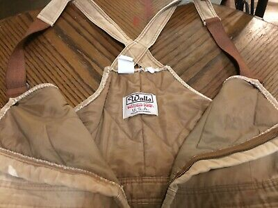 Vintage Walls Blizzard Pruf USA Quilted Overalls Mens Large Regular 38-40 x 30