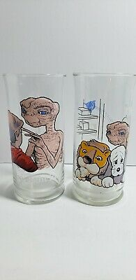 E.T. Extra Terrestrial Pizza Hut 1982 Limited Edition Glasses Set of Two