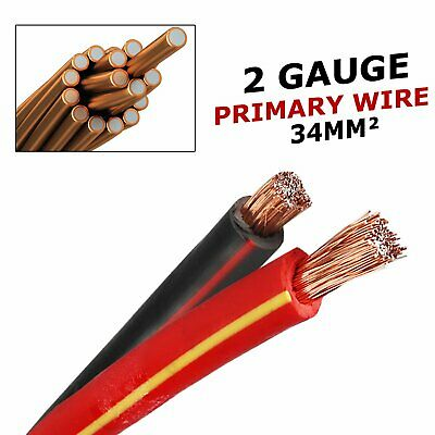 Vehicle Trailer Amps Amplifier Primary Wire Dual Battery Low Voltage Cable 34mm2