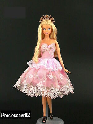 New Barbie doll clothes outfit princess wedding gown pink lace cocktail dress