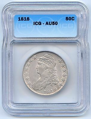 1818 50C Capped Bust Silver Half Dollar. ICG Graded AU 50. Lot #2546