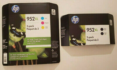 HP 952XL Black & 952XL Color Ink Cartridge Combo Pack of 4 (Exp: March 2021)