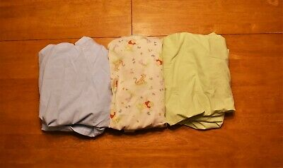 Baby Fitted Crib Sheet Lot (Blue, Green, Winnie the Pooh)