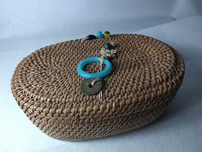 ANTIQUE Authentic Chinese Sewing Basket lucky Beads Coins Bangle Loop Glass OLD