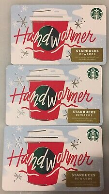 """Lot 3 Starbucks """"HAND WARMER"""" Christmas 2019 Recycled Paper Gift Card set"""