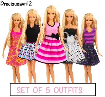 New Barbie doll clothes 5 party sets outfits dress clothes clothing.