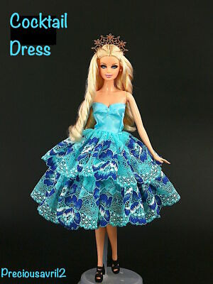 New Barbie doll clothes outfit princess wedding gown blue lace cocktail dress