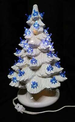 "Vintage White Ceramic Mold Blue Lighted Christmas Tree 15"" Holly Berry Base 2pc"