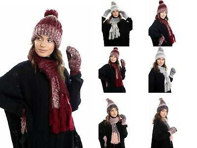 Ladies Knitted Warm Hat Scarf and Thick Fleece Lined Mittens Set Women Winter We