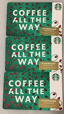 """Lot 3 Starbucks """"COFFEE ALL THE WAY"""" Christmas 2019 Recycled Paper Gift Card set"""