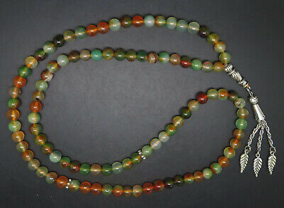 99 Pieces of Islamic Natural Green Carnelian 9mm Prayer Beads String