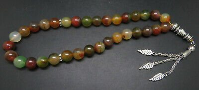 33 Pieces of Islamic Natural Green Carnelian 12mm Prayer Beads String