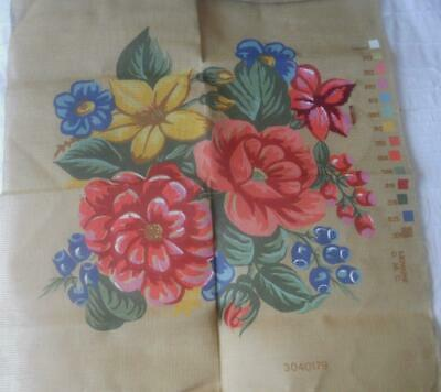 Very Sml Amt Wkd Vintage Printed Tapestry Canvas Mixed Flowers Suit Cushion Etc