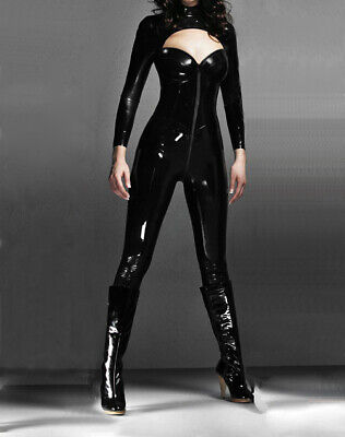 Unique Latex Rubber Full Catsuit 100% Gummi Schwarz Zipper Bodysuit Ganzanzug