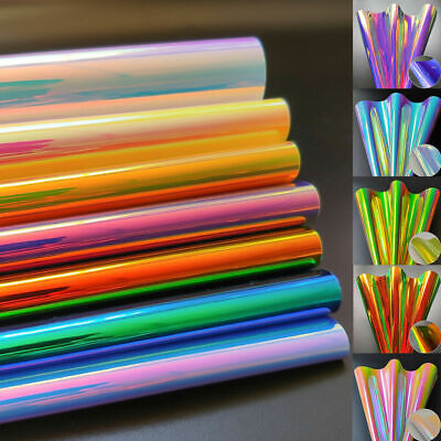 6pcs Iridescent Rainbow PU Leather Fabric Laser For Sewing Bow Earring DIY 0.9mm