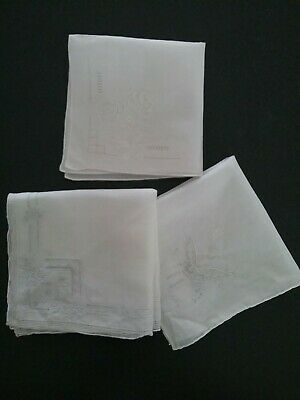 Ladies Hankies White Embroidered. 3..Cotton...Wedding/ Formal