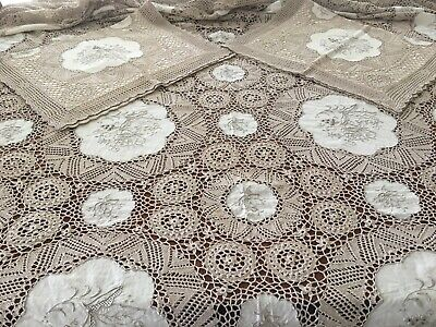 New Unused Crocheted Embroidered Huge 280Cmx250Cm Tablecloth/Bedspread