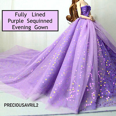 New Barbie doll clothes outfit princess wedding dress purple sequin gown