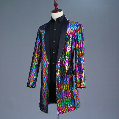 Mens Sequin Wing Embroidery Suit Jacket Notch Lapel Tailored Blazer Top Coat SPW