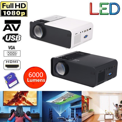W10 Home Theater Mini Portable LED LCD Projector 1080p HDM/USB/AV/TF Multimedia