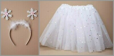 Snowflake Fancy Dress Costume Sparkly Tutu Skirt Childrens Nativity Outfit