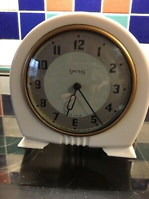 Smiths White Bakelite Clock Art Deco Style. Not Working. Case In Excellent Cond