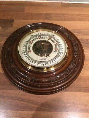 Vintage Carved Wood Brass Ships Aneroid Barometer Maritime Marine Nautical Boat