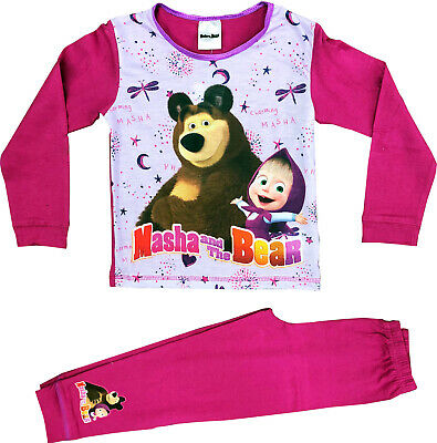Offical Girls Masha and the Bear Pyjamas Pj Set Ages
