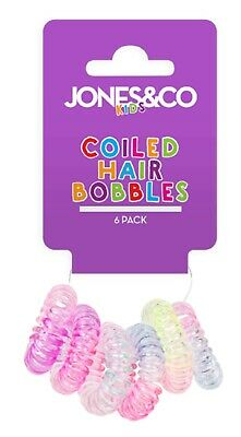6 pack Pink Kids Spiral Coil Hair Band Tangle Telephone Cord Wire Plastic Bobble