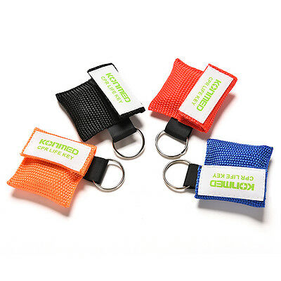 4 Colors CPR Mask Keychain Emergency Face Shield First Aid Rescue Bag Kits 3C