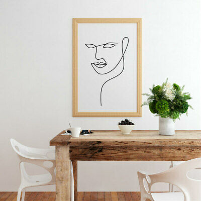 Face One Line Drawing Poster  Wall Art Print  Home Decor A4 Gift