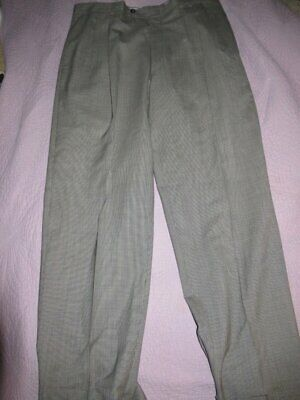 Nwt Austin Reed gray houndstooth 100% wool pleat front cuffed pants mens 36 W 30