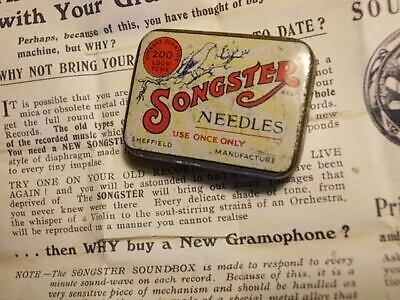 Old SONGSTER Gramophone Needle Tin. VG