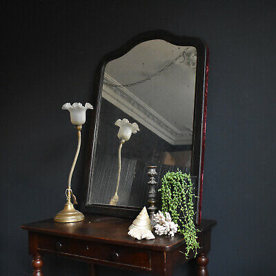 French Ebonised Boudoir Mirror with Velvet Trim, Antique 19th Century Overmantel