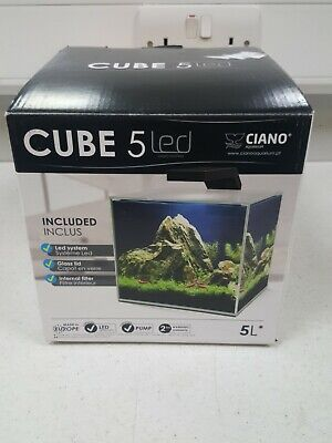Ciano Cube Aquariums 5 with LED Light, Internal Filter, Lid Fish Tank