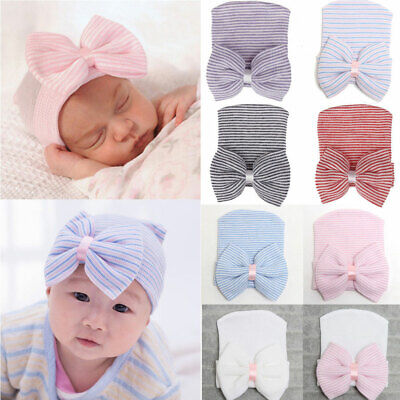 Newborn Baby Girl Boy Bow Knot Flower Cute India Cap Turban Head Wrap Beanie Hat