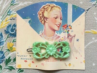 Vintage 50's cute ornate plastic hair clip, slide with flowers, green, old stock