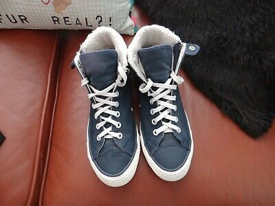 Unisex Blue Leather High Tops By Converse / Fur Lined / Size Uk 7.5